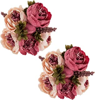 Ezflowery 2 Pack Artificial Peony Silk Flowers Arrangement Bouquet for Wedding Centerpiece Room Party Home Decoration, Elegant Vintage, Perfect for Spring, Summer and Occasions (2, Peach Pink)