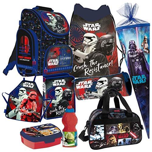 Star Wars 9 TLG. Schulranzen RANZEN Episode SCHULTÜTE 85 cm Tornister Sporttasche Malschürze Rucksack Tasche Set + Sticker von Kids4shop