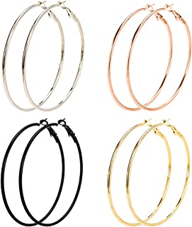 8 pares de pendientes de aro grandes, pendientes de aro de acero inoxidable chapados en oro, oro rosa, plata, color negro, para mujeres y niñas