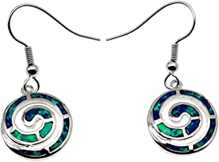 Australian Blue Fire Opal Dangle Hook Earrings for Women, Birthstone Jewelry Birthday Gifts
