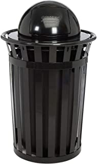 Global Industrial 36 Gallon Outdoor Metal Slatted Trash Receptacle with Dome Lid, Black, Lot of 1