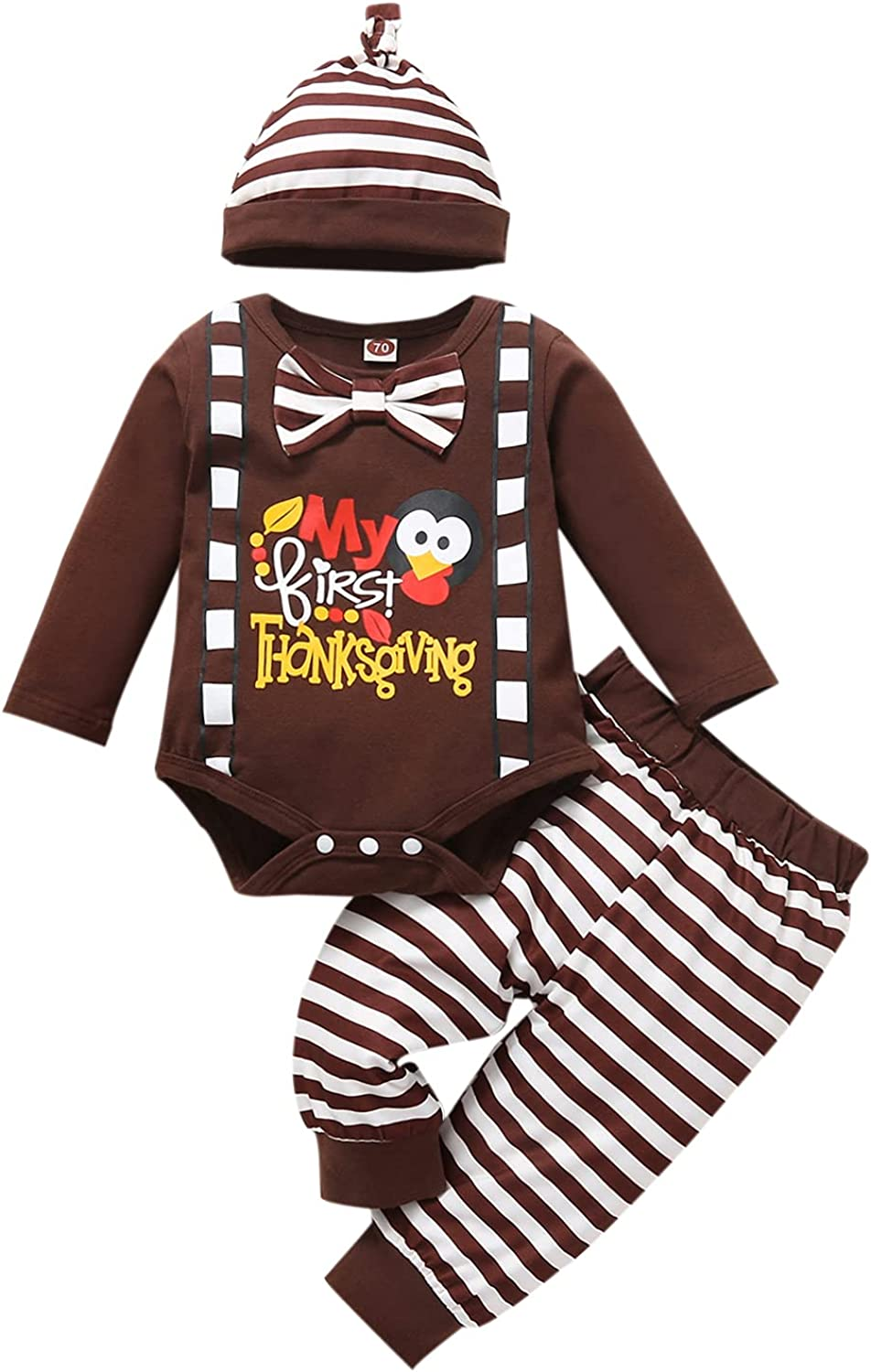 Newborn Baby Boy Girl Halloween Thanksgiving Outfit Pumpkin Turkey Romper Top and Pants with Hat 3Pcs Clothes Set