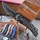 KCCEDGE BEST CUTLERY SOURCE EDC Pocket Knife Camping Accessories Razor Sharp Edge Samurai Sword Folding Knife for Camping Gear Survival Kit 56379 (Black)