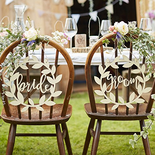 Ginger Ray Natural Wooden Bride and Groom Rustikales Land, beige
