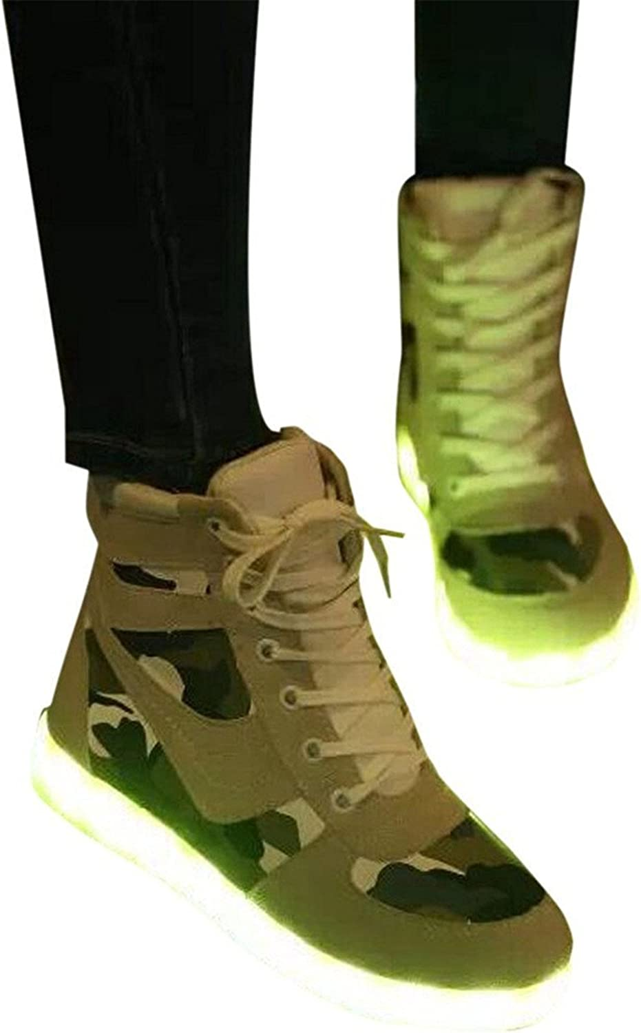 Pilusooou Fashion Unisex LED shoes Light Up USB Charging Women High Top shoes Sneakers