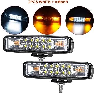 6 Inch LED Light Bar - 2Pcs 36W Dual Color Spot Flood Combo Beam LED Work Light Pods 5 Flash Mode White & Amber