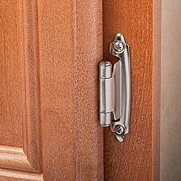 Overlay Cabinet Hinges,Flush Cabinet Hinge,5 Pairs 10pcs Satin Nickel Matte Black Self Closing Variable Overlay Cabinet Door Hinges