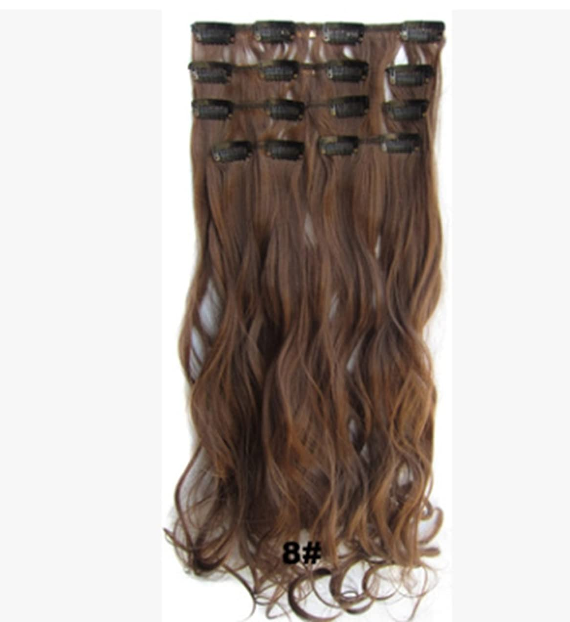 シャベル治安判事ユーザーKoloeplf 7 P/セット女性の長いカーリーヘアクリップヘアエクステンションワンピース(ダークブラウン、ゴールデンイエロー、ライトブラウン)55cm 90g (Color : Light brown)
