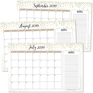 Gold 2019-2020 Large Monthly Desk or Wall Calendar Planner, Big Giant Planning Blotter Pad, 18 Month Academic Desktop, Hanging 2-Year Date Notepad Teacher, Mom Family Home or Business Office 11x17