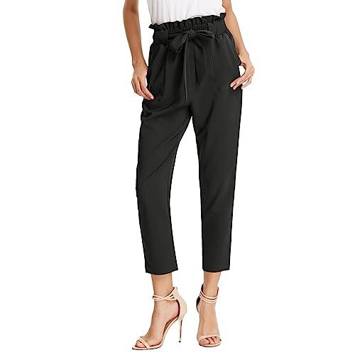 bc6a5d4c33 GRACE KARIN Women's Pants Trouser Slim Casual Cropped Paper Bag Waist Pants  with Pockets