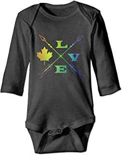 Love Canada Crossed Arrows Glitter Baby Comfortable Long Sleeve Bodysuits Jumper One-Piece Suit Pajamas