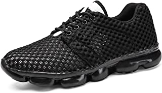 Shangruiqi Fashion Sneakers for Men Perforated Walking Shoes Lace Up Round Toe Anti-Slip Breathable Lightweight Anti-Wear (Color : Black, Size : 6.5 UK)