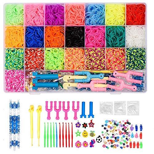 Queta 6800 Gummi Loom Bänds DIY Webstuhl Bänder Band Box mit Armband Halskette Strickwerkzeug zum Kinderspielzeug
