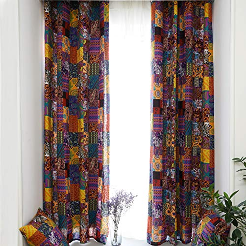 84 in Length Curtains 2 Panel Set, Colorful Moroccan Boho Curtains,Room Darkening Linen Curtains