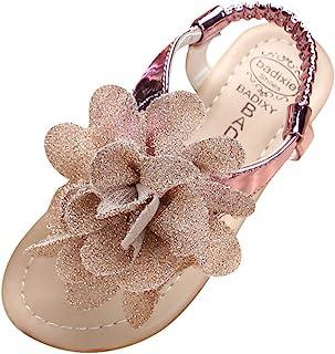 JJHAEVDY Girls Kids Thong Elastic Ankle Strap Sandals with Glitter Flower Summer Slip On Flip-Flop Toddler/Little Kid