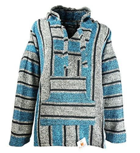 Funny Guy Mugs Premium Baja Hoodie Sweatshirt Pullover Jerga Poncho (Ice Man, Large)