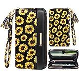 Women Wallets Multi Card Case Wallet Clutch Wallet Card Holder Organizer Ladies Purse Floral Tassel Wrist strap Purse,Sunflower