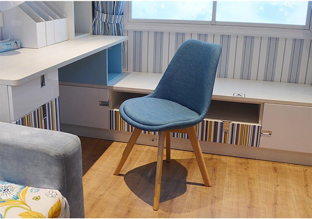 Chaise de salle à manger en bois massif, chaise minimaliste moderne, chaise d'ordinateur, chaise de bureau de mode décontractée. (Couleur : Rouge) Cyan