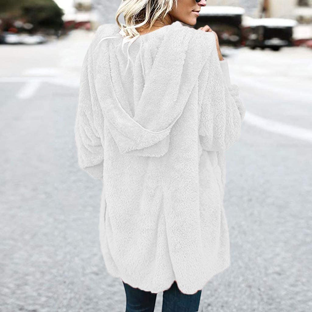 Forwelly Plus Size Winter Plush Coat for Women Fashion Solid Long Sleeve Hooded Cardigan Long Coat with Pocket