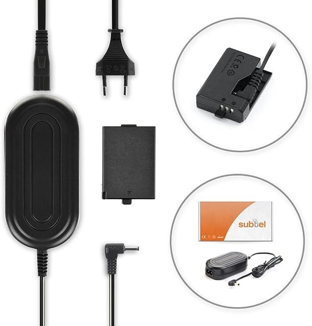 subtel® Fuente de alimentación Compatible con Canon EOS 1100D 1200D 1300D EOS 1D X Mark II EOS 2000D EOS Kiss X50 Kiss X70 X80 EOS Rebel T3 Rebel T5 T6 T7 CA-PS700 + DR-E10 Cable de Corriente ACK-E10