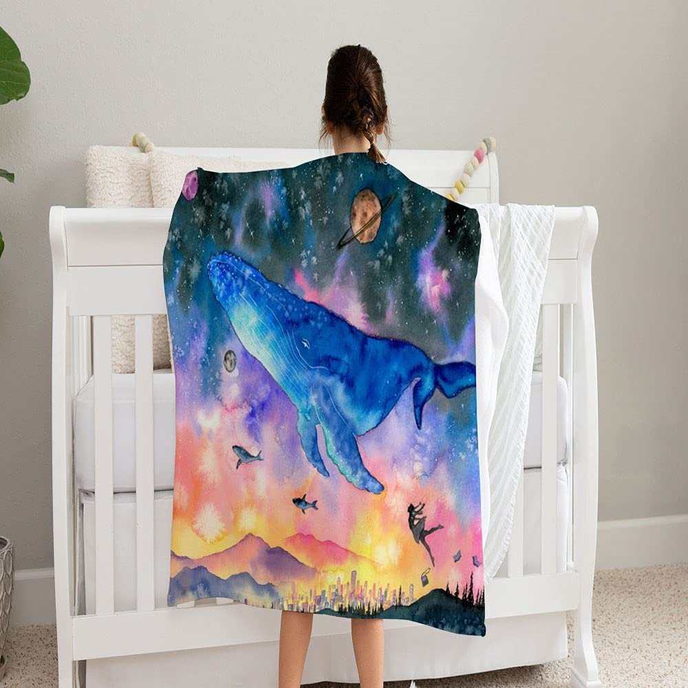 LPVLUX Indianapolis Mall Watercolor Painting Whale Diving Into Blanket Su Fantasy Max 71% OFF