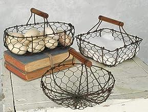 Chicken Wire Baskets in Rust Finish Set of Three