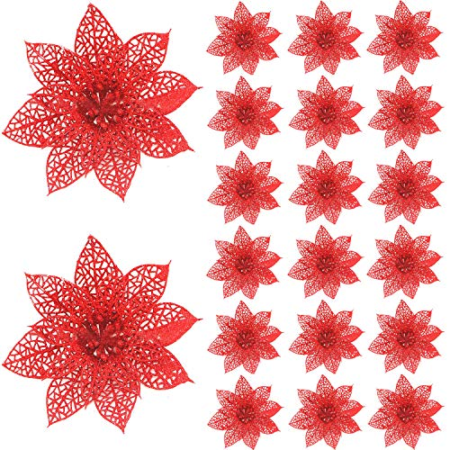 Worldoor 20 Pieces Glitter Christmas Tree Ornaments Artificial Wedding Christmas Poinsettia Flowers for Festival Decoration (Red)