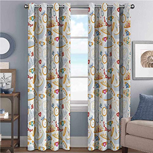Pearls High-Strength Blackout Curtains Pattern with Accessories Diamond Rings and Earring Figures Image Digital Print for Bedroom, Kindergarten, Living Room W52 x L84 Inch White Yellow