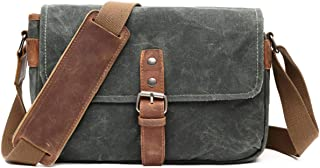 Classic Camera Bag, Canvas Messenger SLR/DSLR Shoulder Case with Leather Trim, Tablet Compartment and Removable Insert,Green,29 * 10 * 20cm