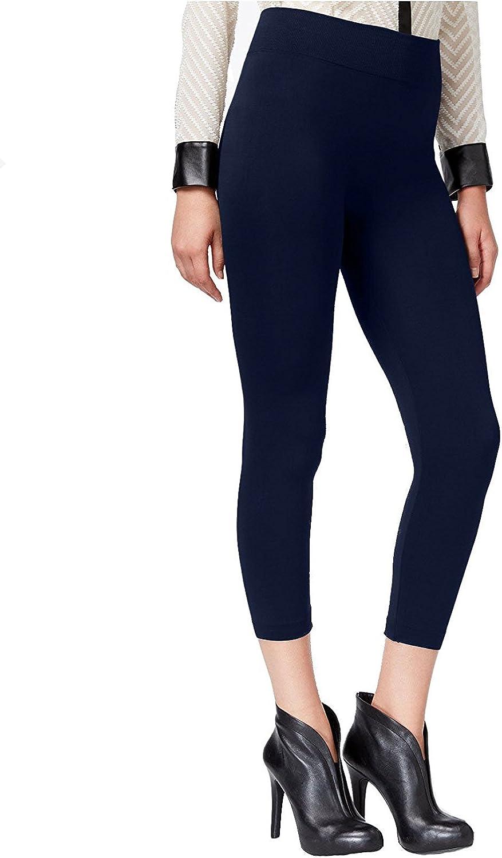 HUE Women's Fleece Lined Seamless Leggings/Footless Tights (Navy, Med -Large 10-14)