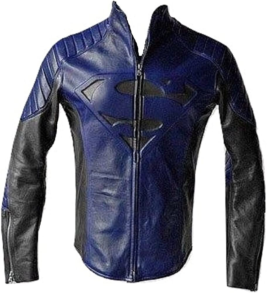Bestzo Men's Fashion Super Man Blue Leather 人気 Navy Jacket 数量限定アウトレット最安価格
