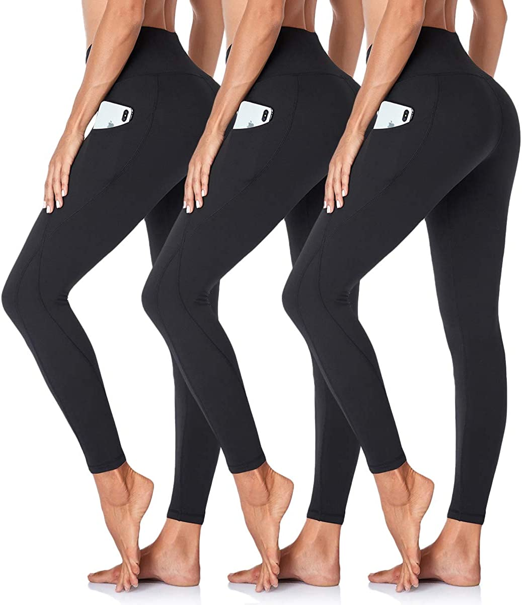 GAYHAY 3 Pack High Waist Yoga Pants for Houston Mall Max 61% OFF Pockets Women Tum with -
