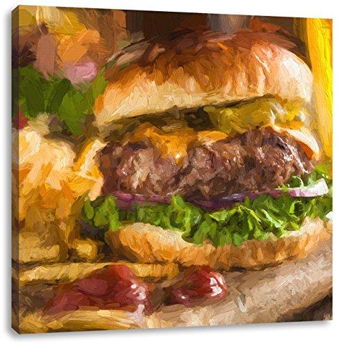Juicy chili cheeseburgerCanvas Foto Plein | Maat: 40x40 cm | Wanddecoraties | Kunstdruk | Volledig gemonteerd