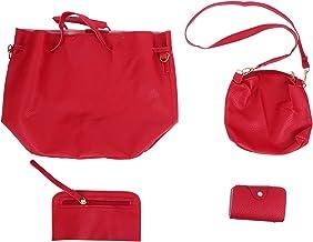 KESYOO 4Pcs Single Shoulder Bag PU Crossbody Storage Pouch Women Simple Handbag with Wallet Purse Bags (Red)
