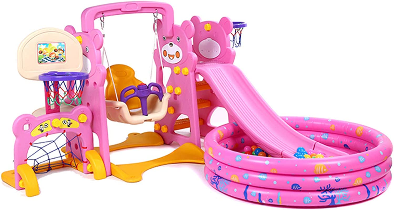 Thole 5in1 Rutsche Kinder Spielplatz mit Kugelbecken und Luftpumpe Kinderschaukel Spielplatzschaukel Rutsche Schaukelgerüst