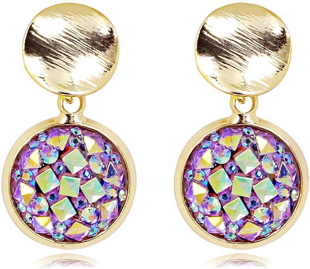 Clip on Earrings Purple Crystal Round Drop Dangle Earring Women Girl Gold Fashion Jewelry non Piecred