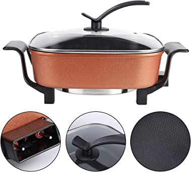 Electric Hot Pot, 5L Electric Cooker Multifunction Adjustable Stainless Steel Cooking Pot Kitchen Cookware Tools for Home Kit