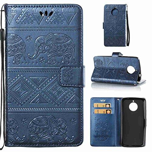 pinlu Schutzhülle Für Motorola Moto E4 Handyhülle Hohe Qualität PU Ledertasche Brieftasche Mit Stand Function Elefanten Muster Navy Dunkelblau