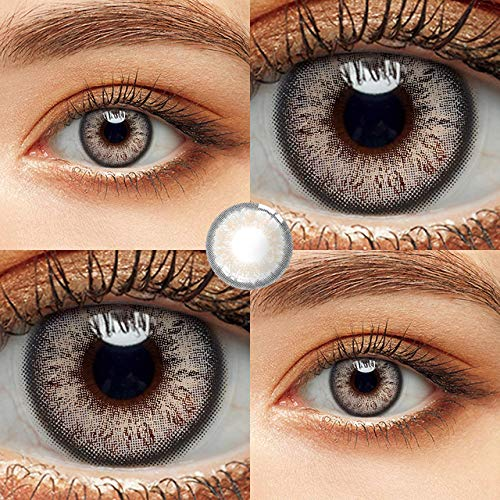 HLINSH Contactos de Color de 2 Piezas/par con Color Gris marrón para Ojos anuales, Gris