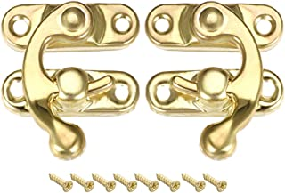 uxcell Antique Latch Hook Hasp, 5 Pairs Swing Handle Latch Golden w Screws