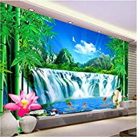 壁飾り画 3D山水緑竹の滝自然景観壁壁画リビングルーム寝室の壁の装飾壁紙-280X200Cm