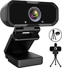 Webcam 1080p HD Computer Camera - Microphone Laptop USB PC Webcam with Privacy Shutter and Tripod Stand, 110 Degree Live S...