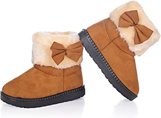 DADAWEN Baby's Girl's Toddler Fashion Cute Bowknot Fur Lining Princess Warm Snow Boots