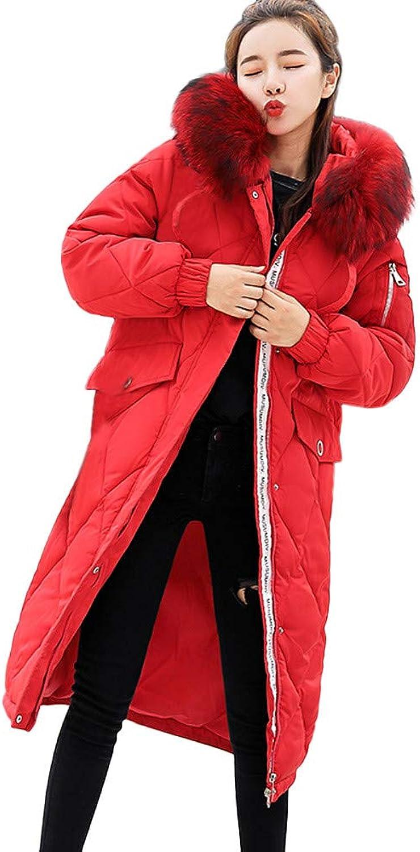 GridNN Women's Winter Long Solid color Hooded Fur Collar Warm Coat Jacket