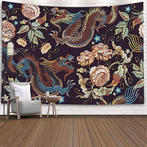 PeoniesTapestry,Asdecmoly Art Tapestry Living Room and Bedroom 60 Lx50 W Inches Embroidery Vintage Chinese Dragons Flowers Peonies Pattern Art Clothes Textile Art Printing Inhouse
