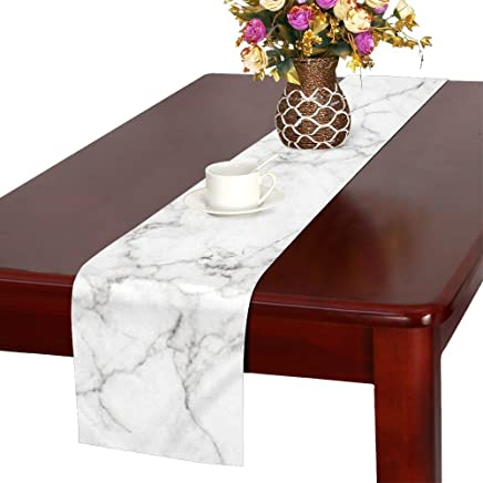 InterestPrint Antique White Marble Stone Table Runner Linen & Cotton Cloth Placemat Home Decor for Kitchen Dining Wedding Party 16 x 72 Inches