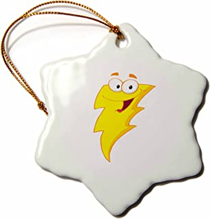 3dRose ORN_118795_1 Silly Cute Cartoon Lightning Bolt Character Snowflake Ornament, Porcelain, 3-Inch