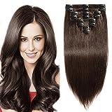 Elailite Extension Capelli Veri Clip 8 Fasce Piene a Punte Modello Migliorato - 100% Remy Human Hair Lisci 50cm 105g #2 Marrone Scuro