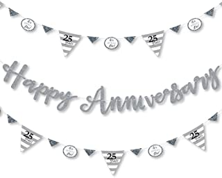 Big Dot of Happiness We Still Do - 25th Wedding Anniversary - Anniversary Party Letter Banner Decoration - 36 Banner Cutouts and Happy Anniversary Banner Letters