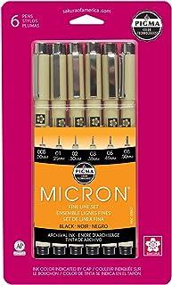 Sakura Pigma 30062 Micron Blister Card Ink Pen Set, Black, Ass't Point Sizes 6CT Set
